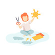 Cute Boy Sitting on Floor and Cutting Application Details, Kids Creativity, Education, Development Vector Illustration