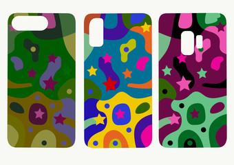 Set of mobile phone back cover templates. Beautiful original colorful abstract color drawing  illustration  for phone cover