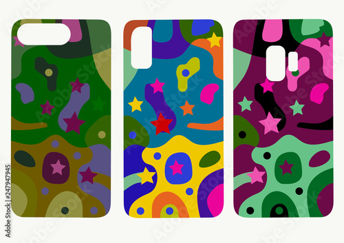 Set of mobile phone back cover templates. Beautiful original colorful abstract color drawing  illustration  for phone cover - 247947945