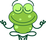 Cool green frog with long legs and arms doing a Gyan mudra sign with both hands. It's happily smiling while seated in peaceful meditation - 247949125