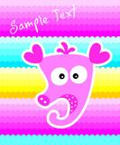 cute little seahorse greeting card vector