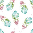 Seamless watercolor pattern of bird feathers on a white background. Natural motives. Flight. - 247953957