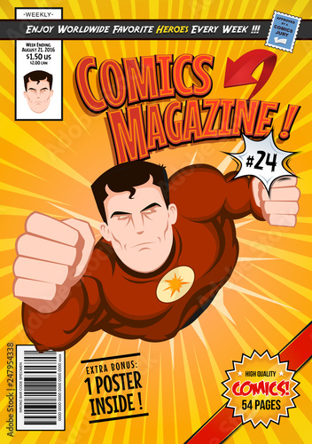 Comic Book Cover Template/ Illustration of a cartoon editable comic book cover template, with super hero character flying, titles and subtitles to customize, and wrong bar code and label - 247954338