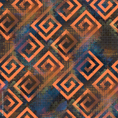 fototapeta na ścianę Seamless pattern grunge design. Mixed print with greek meanders and halftone grids. Watercolor effect. Suitable for bed linen, leggings, shorts and fashion industry.