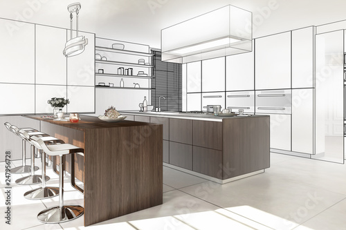 Contemporary Designed Kitchen (preview) - 3D illustration © 4th Life Photography