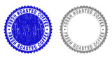 Grunge FRESH ROASTED COFFEE stamp seals isolated on a white background. Rosette seals with grunge texture in blue and gray colors.