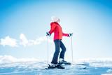 Woman in the mountains on ski