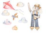 Watercolor set with rabbit, bird and kite. For invitations, cards, children's and easter design. - 247966540