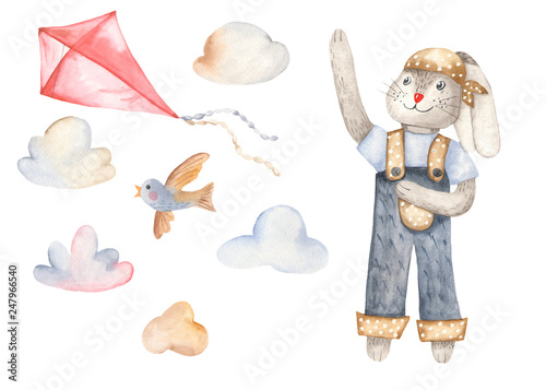 Watercolor set with rabbit, bird and kite. For invitations, cards, children's and easter design.