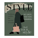 Sketch in style of magazine cover design.  Woman in trendy clothes. Fashion girl hand drawn vector