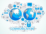 Global internet connection concept, planet earth with different icons set, internet activity, big data, global communication, vector, elements can be used separately. - 247980961