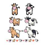Cute cow collection cartoon vector illustration motif set