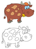 coloring pages for childrens with funny animals,cow