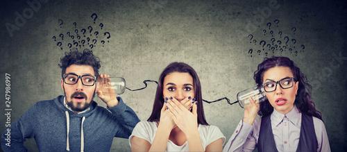 Leinwandbild Motiv man and woman having troubled communication