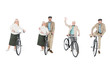 Leinwandbild Motiv collage of cheerful pensioners standing near bicycles isolated on white