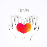 Illustration of doodle hands holding watercolor heart.  Love concept, Valentine's day background. Vector illustration. Wallpaper, invitation, posters. - 247989905