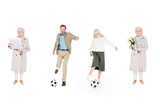 collage of pensioners playing football near women with flowers and newspaper isolated on white