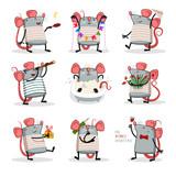 cute small animal rat mouse vector illustration flat design - Vector - 247990398