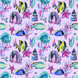 Seamless pattern with watercolor fish surgeon among sea stones, corals and algae, hand painted on a light purple background