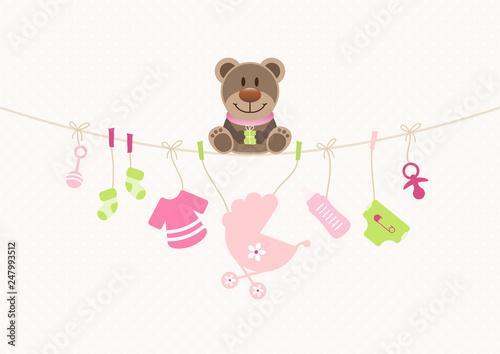 Teddy & Baby Icons Mädchen Wäscheleine Punkte Pink/Beige - 247993512