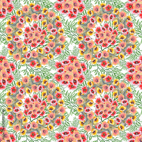 Seamless pattern of tulip flowers of red, pink and yellow color, on a white background with vegetable pattern, made with acrylics - 247995742