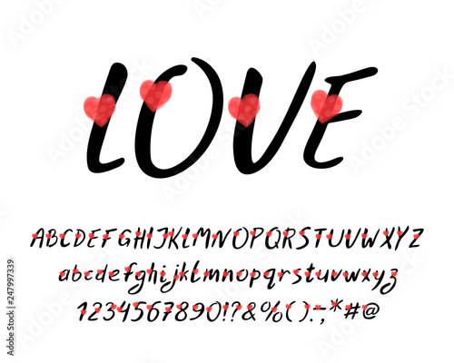 Romantic Italic Alphabet with love hearts  Vector letters