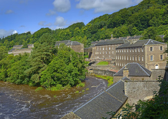 New Lanark is a village on the River Clyde, 25 miles (40 km) southeast of Glasgow. It was founded in 1786 - UNESCO World Heritage Site, Scotland, UK