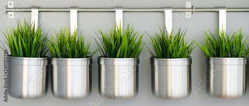 Leinwandbild Motiv Metal decorative vases and flower bowls. Decorative greens for the kitchen. Interior decoration