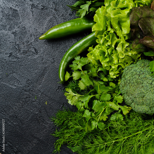 Leinwanddruck Bild fresh green different vegetables. vegetables background