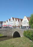 Marktplatz von Friedrichstadt an der Treene in Nordfriesland,Schleswig-Holstein,Deutschland