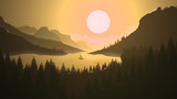 Beautiful landscape 2D illustration. Monochromatic Landscape with deep valleys, sunrise, sunset and a boat in the river