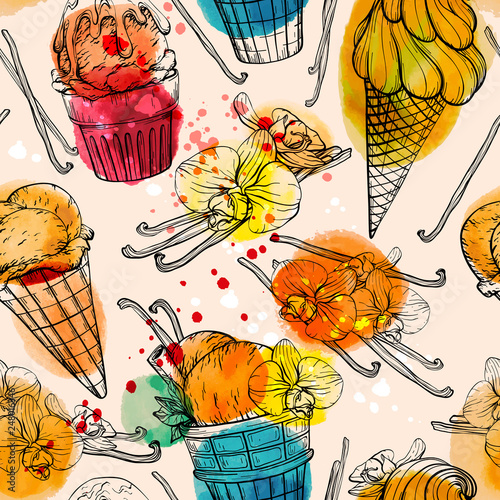 fototapeta na ścianę Seamless pattern with watercolor ice cream and vanilla pods