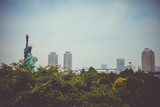Statue of liberty and tokyo cityscape, Japan
