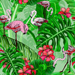 Seamless pattern with tropical flowers and flamingo birds - 248017924