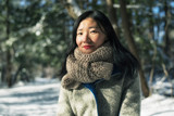 Chinese woman in a new england winter - 248018755