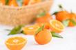 canvas print picture - orangen mit Blättern