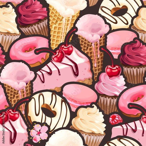 Seamless pattern with pink and white sweets - 248022965