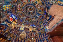 "Постер, картина, фотообои ""Belgrade, Serbia - May 23, 2018: The cupola decorated with frescoes of Orthodox church St. Basil of Ostrog (Serbian: Crkva Svetog Vasilija Ostroškog) in Belgrade, Serbia"""