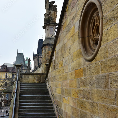 fototapeta na ścianę stairs on Charles bridge in Prague