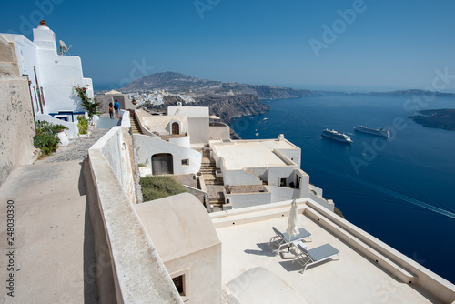 Santorini landscape in summer  time , Greece Travel