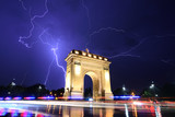 Bucharest storm lightning at the triumphal arch