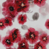 Blurry dreamy floral seamless pattern of red poppies sumi-e style painting. - 248033509