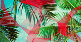 Palm Leaves. Geometric Abstract design. Polygonal tropical background. - 248034568