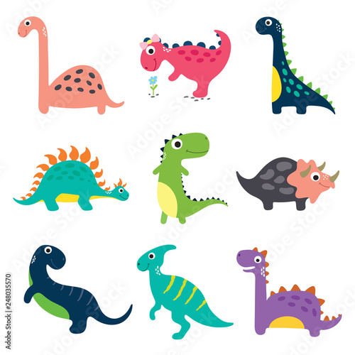 Funny cartoon dinosaurs collection