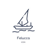 felucca icon from nautical outline collection. Thin line felucca icon isolated on white background.