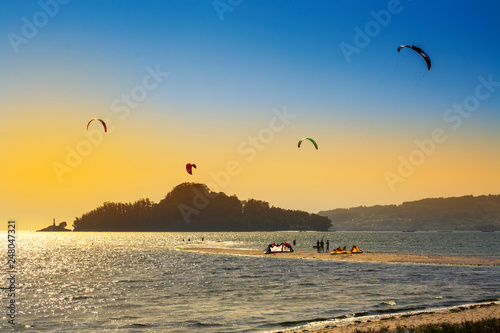 Tambo Island and kite surfers