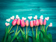 Beautiful tulips and hearts. Valentine's day