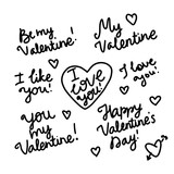 Be my Valentines. I love you Set black handwritten inscription. Vector isolated