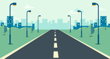 Cityscape scene with road , trees and sky background vector illustration.Main street to town concept.Urban scene with nature background