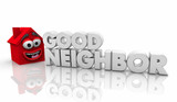 Good Neighbor Helpful House Word 3d Illustration - 248071705